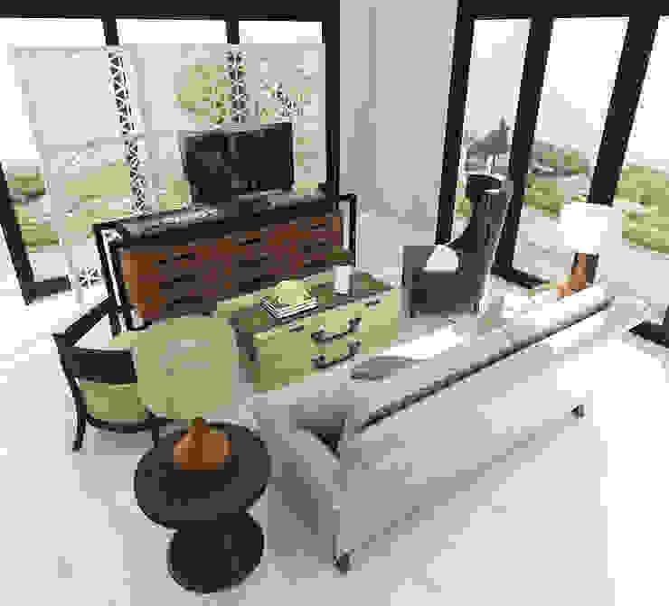 American modern residence Ruang Keluarga Gaya Kolonial Oleh Kottagaris interior design consultant Kolonial