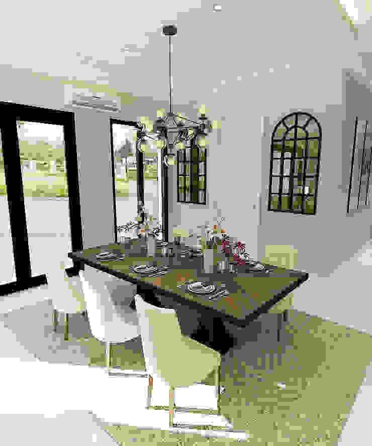 American modern residence Ruang Makan Gaya Kolonial Oleh Kottagaris interior design consultant Kolonial
