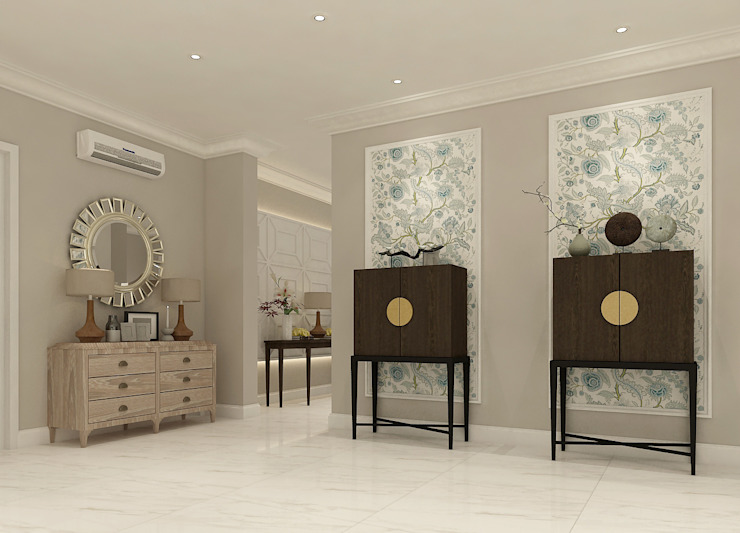 American modern residence Koridor & Tangga Gaya Kolonial Oleh Kottagaris interior design consultant Kolonial