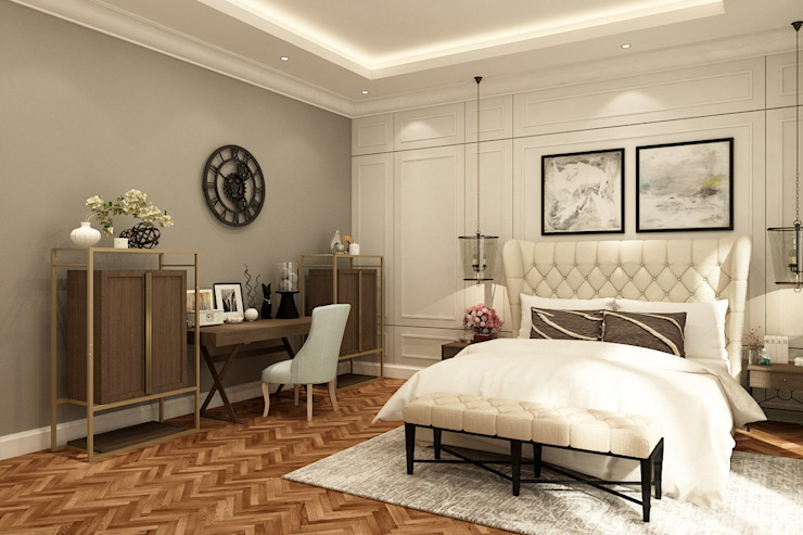 American modern residence Kamar Tidur Gaya Kolonial Oleh Kottagaris interior design consultant Kolonial