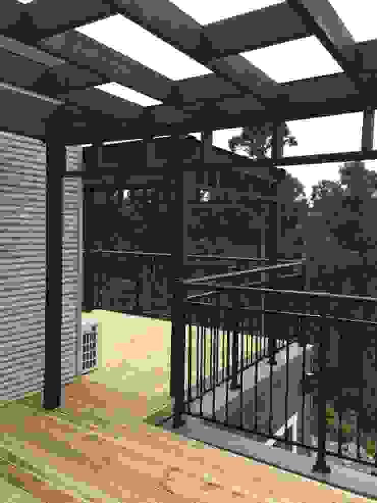 2층의 남쪽 테라스 모던스타일 발코니, 베란다 & 테라스 by MetaPhora Co.,LTD 모던