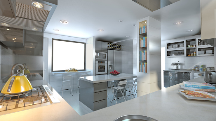 Built-in kitchens by homify, Modern Quartz