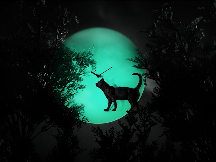 Haoshi Night Glow Cat Moon Clock: modern  by Just For Clocks,Modern Ceramic