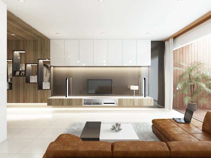 Salas modernas de INK DESIGN STUDIO Moderno Derivados de madera Transparente