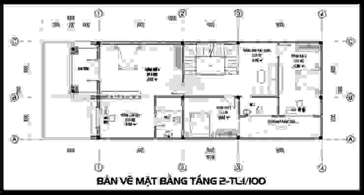Bản vẽ phương án tầng 2 bởi Công ty TNHH TKXD Nhà Đẹp Mới Châu Á