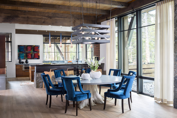 Contemporary Mountain Chalet Modern Dining Room by Andrea Schumacher Interiors Modern