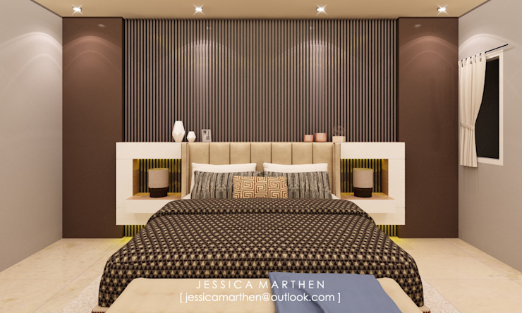Mr S House (Emerald Town House PIK):  Kamar Tidur by JESSICA DESIGN STUDIO