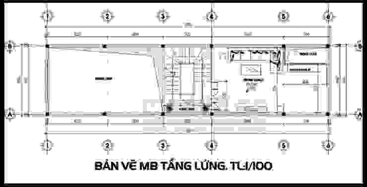 Bản vẽ phương án mặt bằng tầng lửng bởi Công ty TNHH TKXD Nhà Đẹp Mới Châu Á
