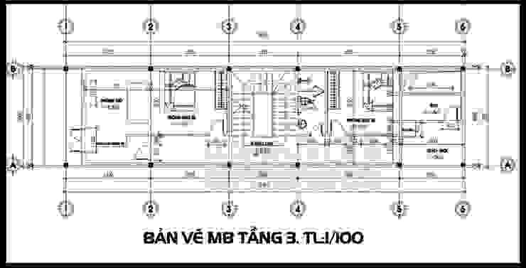 Bản vẽ phương án mặt bằng tầng 3 bởi Công ty TNHH TKXD Nhà Đẹp Mới Châu Á