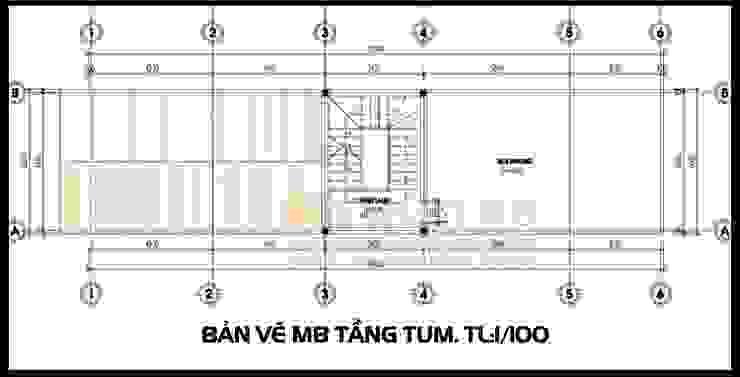 Bản vẽ phương án mặt bằng tầng tum mái bởi Công ty TNHH TKXD Nhà Đẹp Mới Châu Á