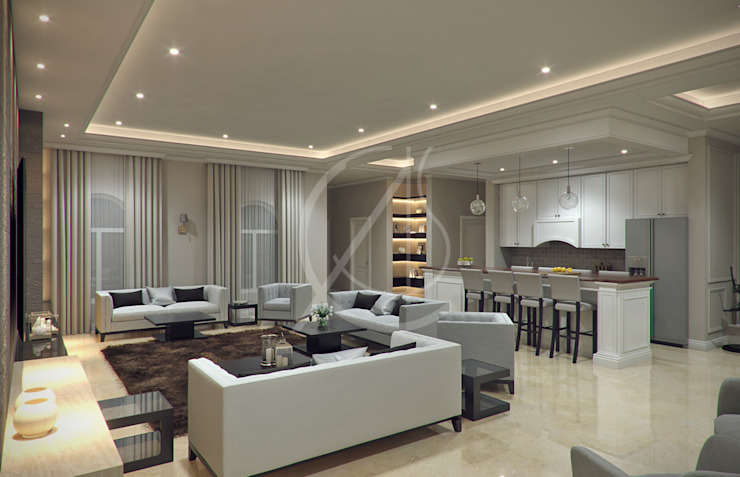 Living Area Modern Living Room by Comelite Architecture, Structure and Interior Design Modern