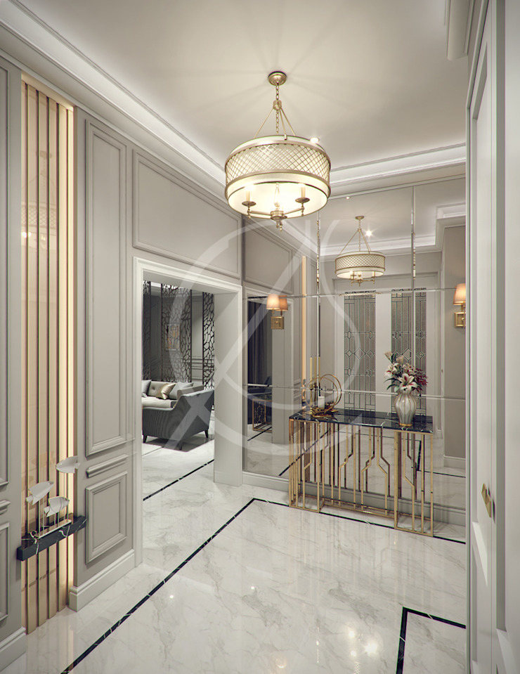 Entry Hall Modern Corridor, Hallway and Staircase by Comelite Architecture, Structure and Interior Design Modern