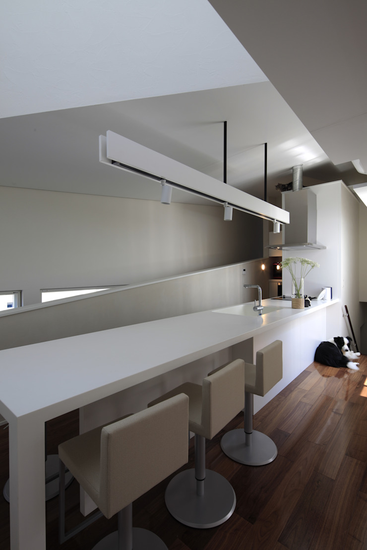スロープの家・卍(愛犬家・愛猫家住宅) Moderne Küchen von 前田敦計画工房 Modern
