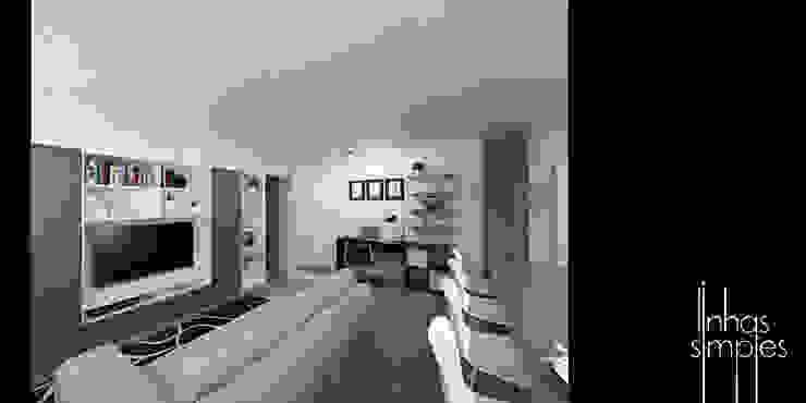 O espaço social Salas de estar modernas por Linhas Simples Moderno