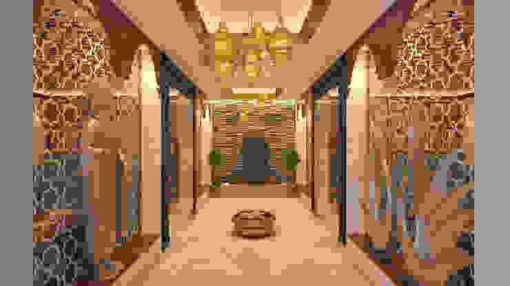 Restaurants Asian style corridor, hallway & stairs by Vivitsu Design Asian