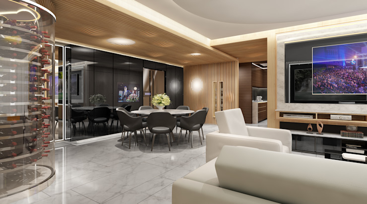 Half & Half Circle Residenence Modern dining room by TheeAe Architects Modern