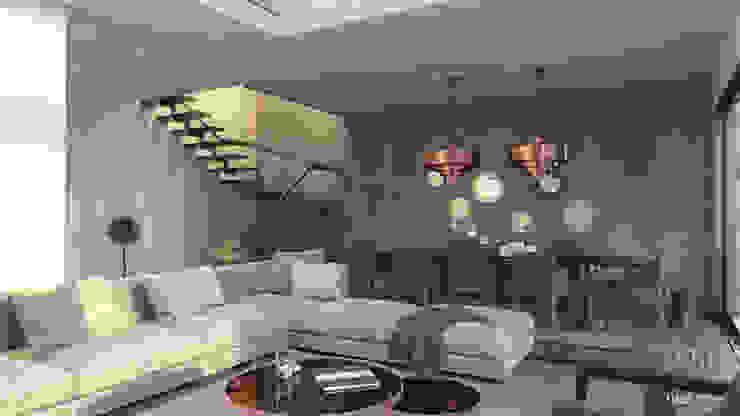 Mat atölye – Kuşadası_Konut_3D Görselleştirme:  tarz Oturma Odası, Modern Ahşap Ahşap rengi