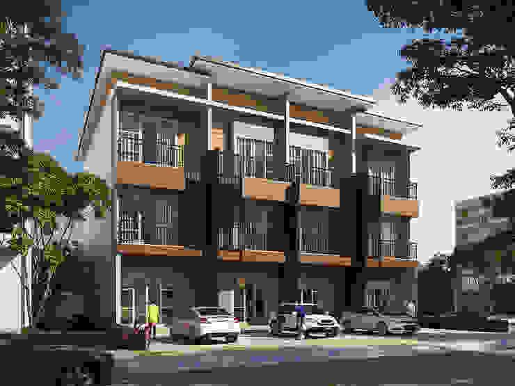 ออกแบบอาคารพาณิชย์ สูง 3 ชั้น โดย T.A.S.Design Co.,Ltd. โมเดิร์น