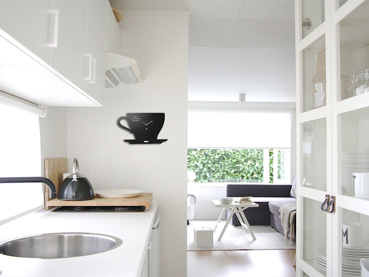 Pt Black Board Cup of Tea Clock: modern  by Just For Clocks,Modern Wood Wood effect
