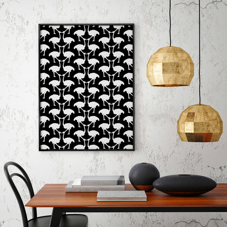 OSTRICH Wallpaper - Black:  Walls & flooring by Estampe and Co