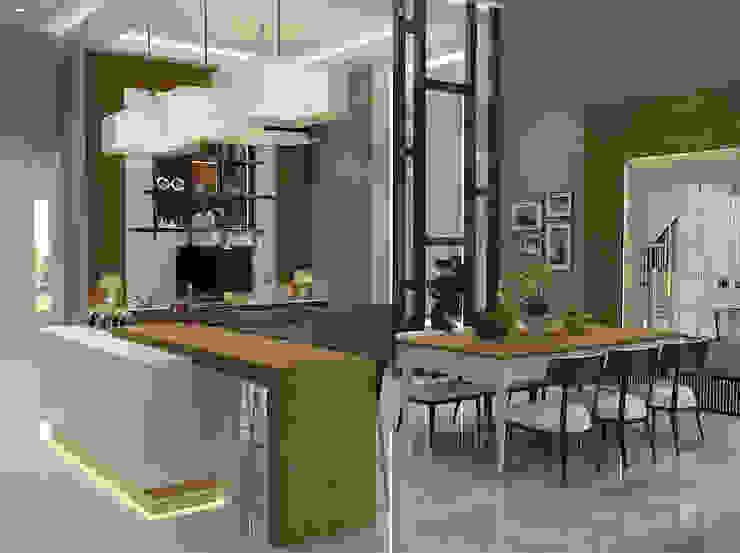 Living Room PEKA INTERIOR Ruang Makan Modern Brown
