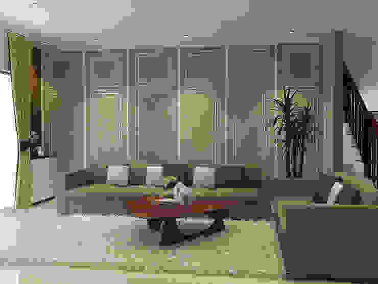 Living Room PEKA INTERIOR Ruang Keluarga Modern Brown