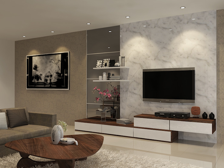 Living Room PEKA INTERIOR Ruang Keluarga Modern Granit Grey