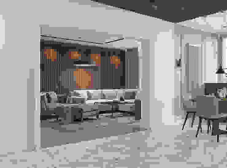 Гостиная с деревянными рейками Гостиная в стиле модерн от Design interior OLGA MUDRYAKOVA Модерн Дерево Эффект древесины