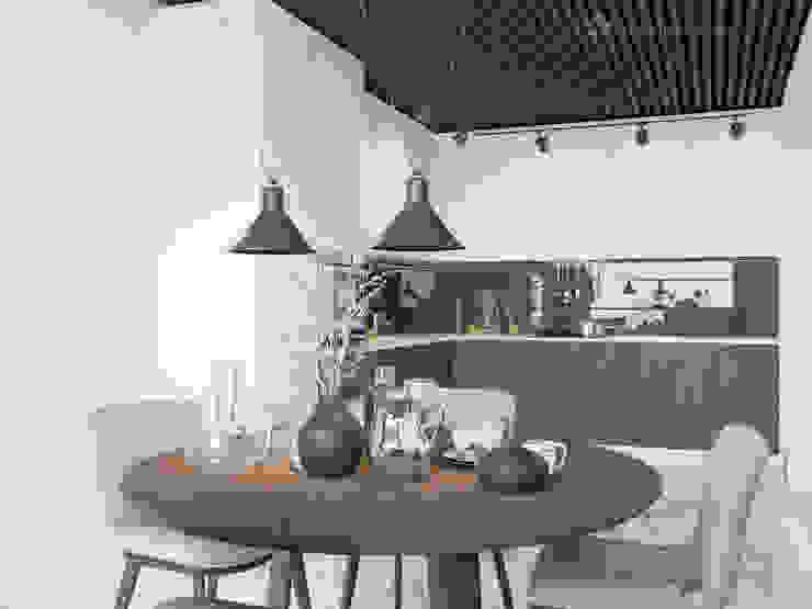 Белая кухня в современном стиле от Design interior OLGA MUDRYAKOVA Модерн Дерево Эффект древесины