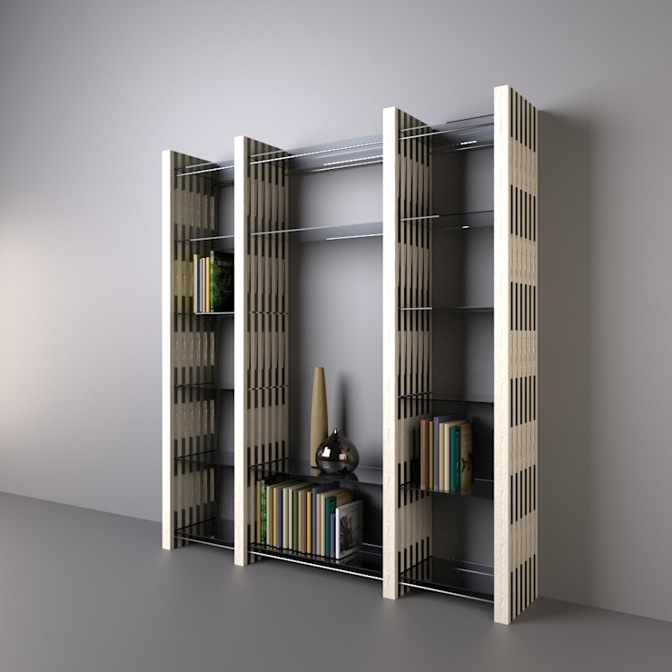 Architekturbüro Michael Bidner Living roomShelves Wood Multicolored