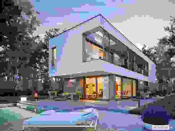 EX 17 W2 - nowoczesny dom z płaskim dachem Pracownia Projektowa ARCHIPELAG Nowoczesne domy