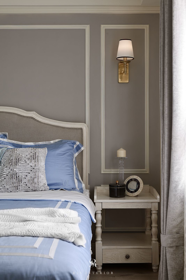 Sunny.Boudoir 理絲室內設計有限公司 Ris Interior Design Co., Ltd. 臥室床與床頭櫃 Purple/Violet