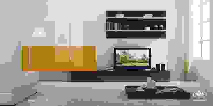 Komandor - Wnętrza z charakterem Modern living room Chipboard Orange