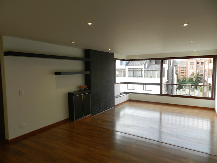 Remodelación Total Apartamento Bogotá Salas modernas de ANA ESTRADA DISEÑO INTERIOR Moderno Madera Acabado en madera