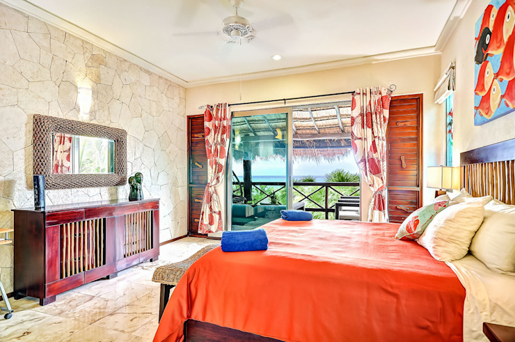Fresh design bungalow Dormitorios tropicales de DHI Arquitectos y Constructores de la Riviera Maya Tropical