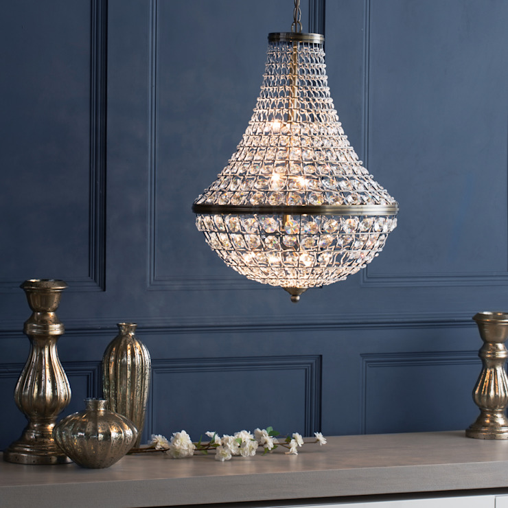 Large Crystal Basket Ceiling Pendant - Antique Brass Litecraft Living roomLighting