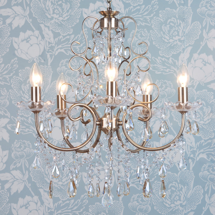 Madonna Chandelier 5 Light Dual Mount Antique Brass Litecraft Living roomLighting