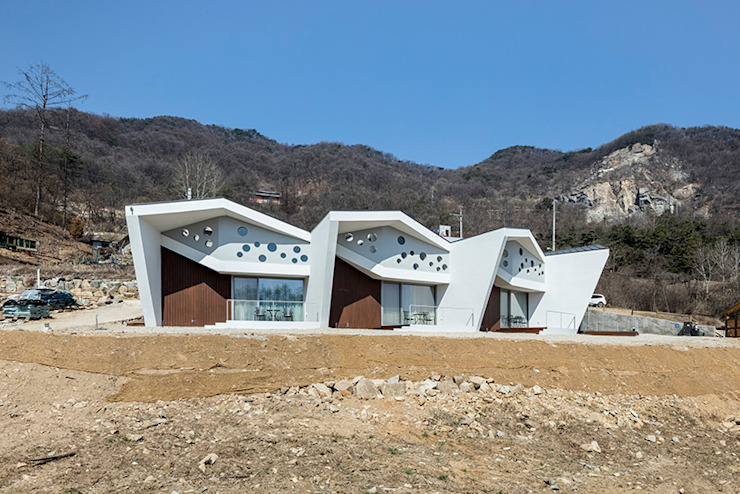 Casas modernas: Ideas, diseños y decoración de HGA 건축디자인연구소 Moderno Concreto reforzado