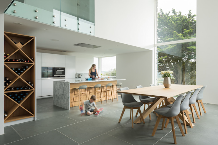 Contemporary Replacement Dwelling, Cubert:  Kitchen by Laurence Associates,