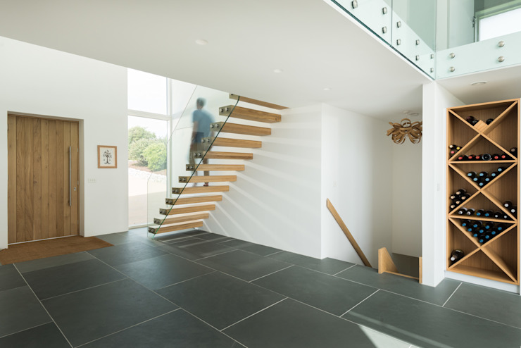 Contemporary Replacement Dwelling, Cubert Modern Corridor, Hallway and Staircase by Laurence Associates Modern Wood Wood effect