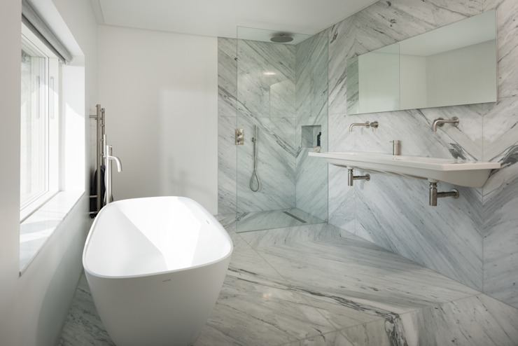 Contemporary Replacement Dwelling, Cubert Modern Bathroom by Laurence Associates Modern Marble