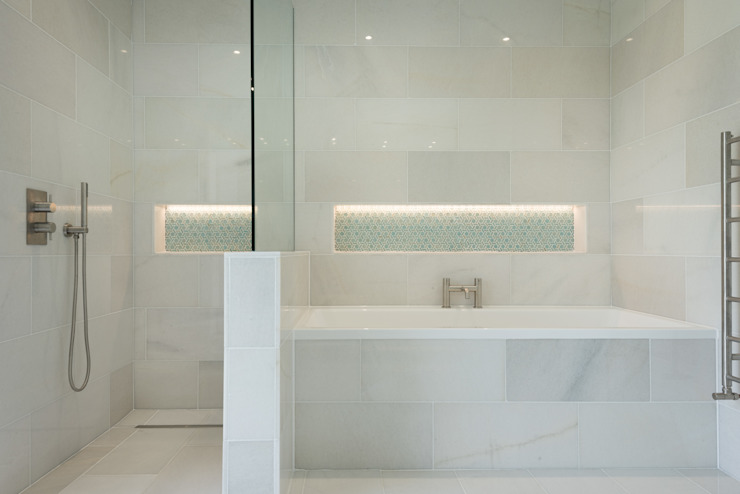 Contemporary Replacement Dwelling, Cubert:  Bathroom by Laurence Associates,