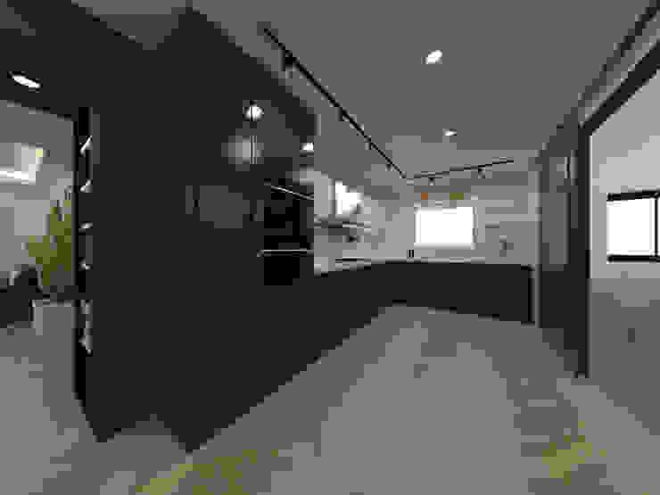 두공간을-- 한공간으로 인테리어 디자인 모던스타일 주방 by 디자인 이업 모던 대리석