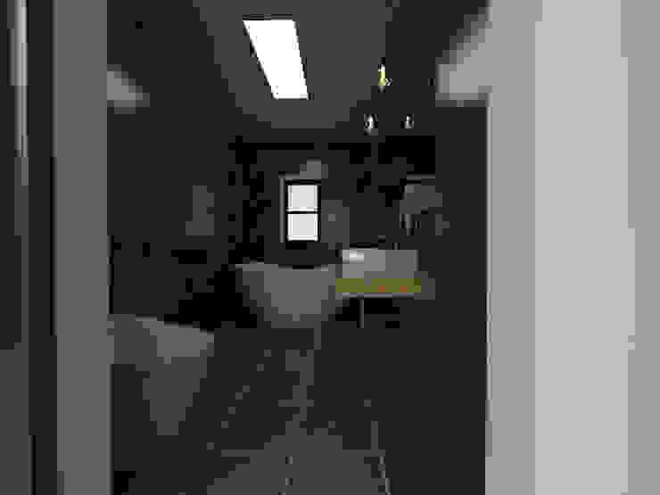 두공간을-- 한공간으로 인테리어 디자인 모던스타일 욕실 by 디자인 이업 모던 세라믹