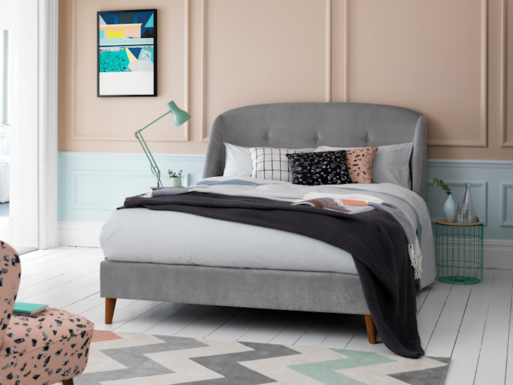Jasmine King Size Bed Frame in Ash (Grade 2) fabric Button & Sprung BedroomBeds & headboards Grey