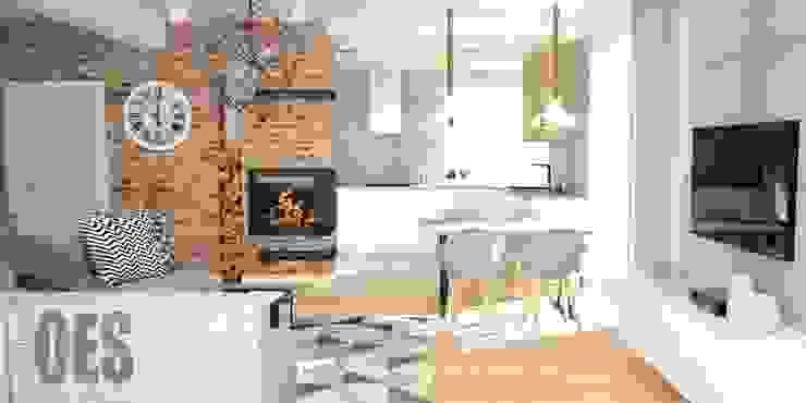 OES architekci 现代客厅設計點子、靈感 & 圖片 磚塊 Orange