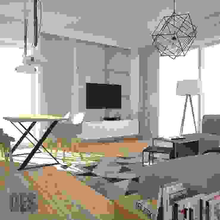 Cegła i beton w salonie OES architekci Nowoczesny salon Beton Szary