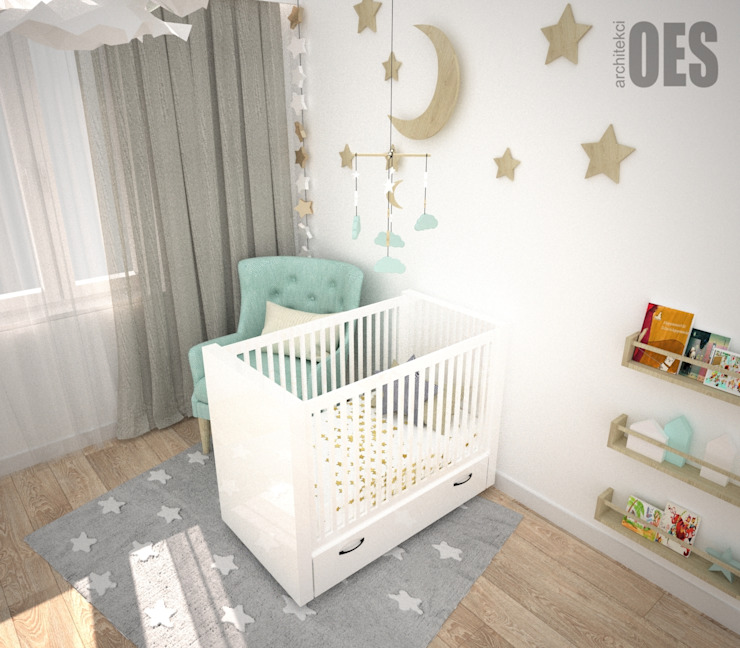 OES architekci Modern nursery/kids room Wood White