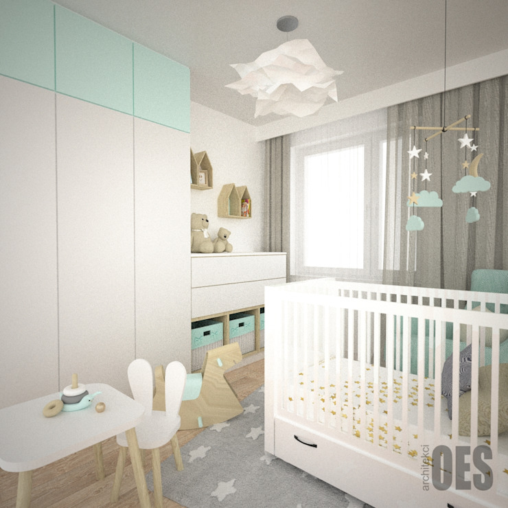 OES architekci Modern nursery/kids room MDF Grey