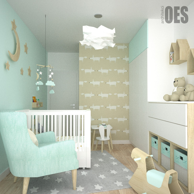OES architekci Modern nursery/kids room Wood Beige